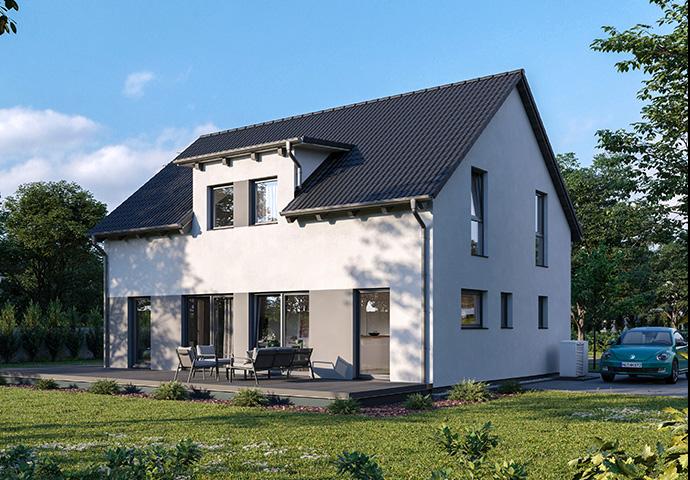 Satteldachhaus Einfamilienhaus Satteldach hinteransicht