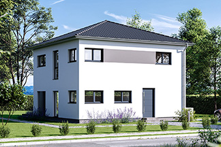 Stadtvilla Walmdach moderne Häuser haustür front